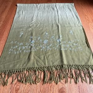 Green Ombre Embroidered Scarf